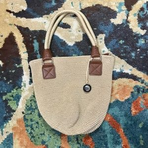 The Sak beige and brown knit purse